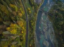 Antenne von Herbstbäumen in den Karpatenbergen Stockbilder