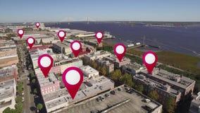 Antenne von im Stadtzentrum gelegenem Charleston, South Carolina GPS Markierungen stock video footage