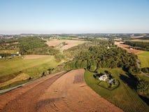 Antenne von Loganville, Pennsylvania um See Redman und See W Lizenzfreies Stockbild