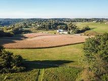 Antenne von Loganville, Pennsylvania um See Redman und See W Lizenzfreie Stockbilder
