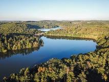 Antenne von Loganville, Pennsylvania um See Redman und See W Lizenzfreies Stockfoto
