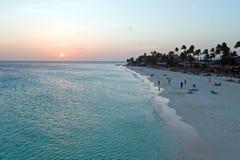 Antenne von Manchebo-Strand auf Aruba-Insel im karibischen Meer Lizenzfreies Stockfoto