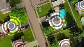 Antenne von Pennsylvania-Nachbarschaft mit WiFi-Krisenherd-Markierungs-Zielen