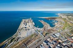Antenne von Port Elizabeth-Hafen Südafrika Stockfotografie