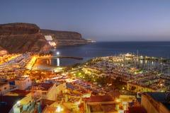 Antenne von Puerto de Mogan, Gran Canaria, Spanien Stockfotografie