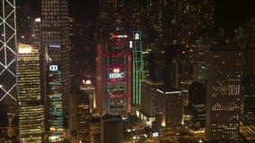 Antenne voor nacht mooie mening van de wolkenkrabbers van de nachtstad in bedrijfsdistrict voorraad Verstralers van een nachtstad stock videobeelden