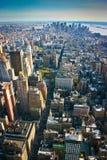 Antennen beskådar över lägre Manhattan New York Royaltyfri Fotografi