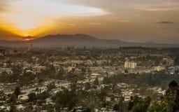 Antennen beskådar av Addis Ababa Arkivfoton