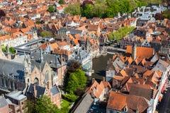 Antennen beskådar av Bruges (Brugge), Belgien Royaltyfri Foto