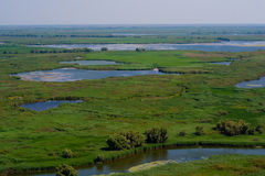 Antennen beskådar av den Danube deltan Arkivbild