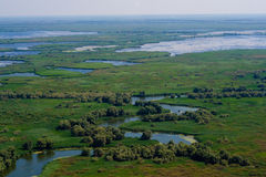 Antennen beskådar av den Danube deltan Royaltyfri Fotografi