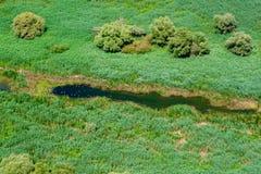 Antennen beskådar av den Danube deltan Royaltyfria Bilder