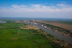 Antennen beskådar av den Danube deltan Fotografering för Bildbyråer