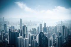 Antennen beskådar av härliga Hong Kong royaltyfria foton
