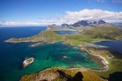 Antennen beskådar av Lofoten Royaltyfri Bild