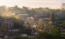 Antennen beskådar av Yangon cityscape, Myanmar Arkivbilder