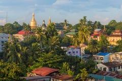 Antennen beskådar av Yangon cityscape, Myanmar Royaltyfria Bilder