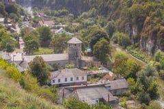 Antennen beskådar på gammal del av Kamianets Podilskyi - Ukraina, Europa Arkivbilder