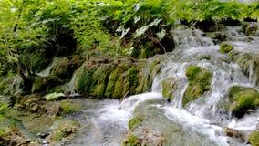 antennen en andra dragningsfärgflöden har för frodig nationell naturlig vattenfall för ett parkplitvice för laken populära omgivn arkivbilder