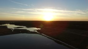 antennen 4k - surra att flyga över skogsjön på solnedgången lager videofilmer