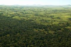 Antennen von Lewa-Erhaltung Zaunlinie von Schutzgebieten und von Eingreifenlandwirtschaft in Kenia, Afrika zeigend lizenzfreies stockfoto