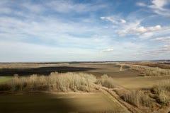 Antennenfelder im Vorfrühling Luftschuß von Feldern Lizenzfreie Stockfotografie