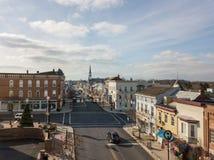 Antenner av historiska Littlestown, Pennsylvania angränsande Gettys Arkivfoto