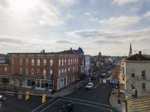 Antenner av historiska Littlestown, Pennsylvania angränsande Gettys Royaltyfri Fotografi