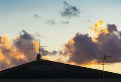 Antenner på solnedgången Royaltyfria Bilder
