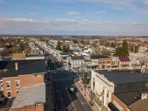 Antennes de Littlestown historique, Pennsylvanie Gettys voisin images stock
