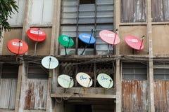 Antennes paraboliques de télévision Photos libres de droits