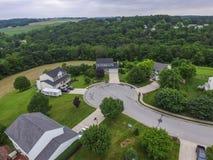 Antennes van Nieuwe Vrijheid, Pennsylvania en omringende Landbouwgrond du stock foto