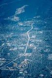 Antennfluga över San Jose Kalifornien och silikonvalleyac royaltyfria bilder