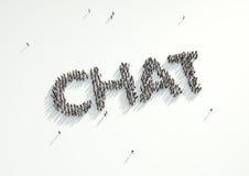 Antennskott av en folkmassa av folk som bildar ordet 'pratstund', Concep Royaltyfri Illustrationer