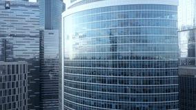 Antennskott av reflekterande kontorsskyskrapadetaljer i ett modernt affärsområde Royaltyfria Foton