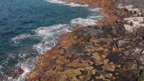 Antennskott Havsbränning, runda cirkla vågor som plaskar blått och turkos i färg och vulkanisk kustlinje av stenar arkivfilmer