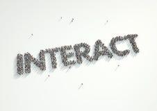 Antennskottet av en folkmassa av folk som bildar ordet ', påverkar varandra', Co Stock Illustrationer