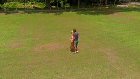 Antennskottet av ett ungt par som kysser i ett tropiskt, parkerar stock video