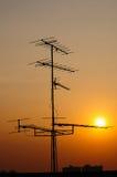 anteny stwarzać ognisko domowe tv zdjęcia stock