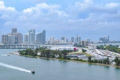 Anteny, trutnia widok W centrum Miami/, Floryda zdjęcie royalty free