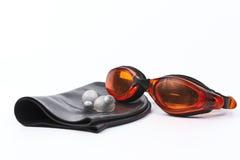 Anteojos de la natación anaranjados. foto de archivo