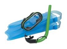 Anteojos de la natación con el tubo respirador y las aletas Fotografía de archivo
