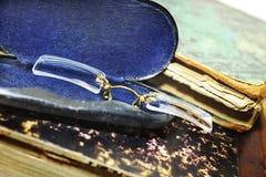 Anteojos en caso metálico Fotos de archivo libres de regalías