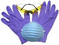 Anteojos, máscara y guantes Imagen de archivo libre de regalías