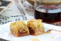 Antep baklava turkish, traditional national dessert. Gaziantep baklava , turkish, traditional national dessert. image of a Royalty Free Stock Photo