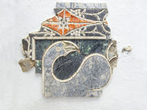 Opus Sectile with aquatic bird. Antequera, Spain - July 14th, 2017: Opus Sectile with aquatic bird. Technique where materials were cut and inlaid into walls to royalty free stock photos