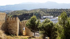 Antequera-Walls snd panoramic view- ANDALUSIA-SPAIN Royalty Free Stock Photo