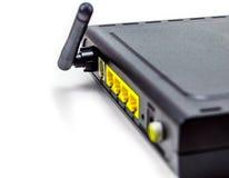 Anterna noir d'arrière de routeur de DSL à quatre orifices Images stock