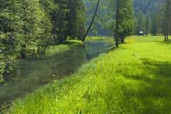 Anterselva sjö på den sena våren Royaltyfri Foto
