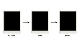 Antes de ahora después de polaroid Imagen de archivo libre de regalías